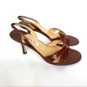 ISAAC croc embossed leather sandals size 7.5M